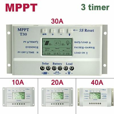 10A 20A 30A 40A MPPT Solar Panel Regulator Charge Controller LCD 12V/24V 3 Timer