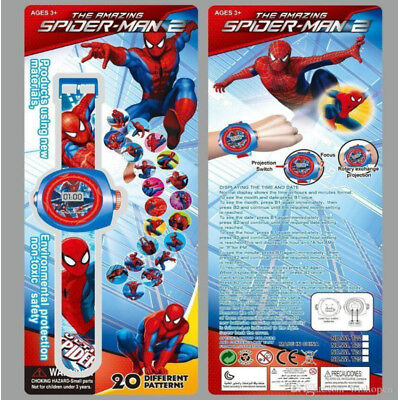 Digital Spiderman Figure KID Watch with 24 Projected Images Gift Toy Light Watch
