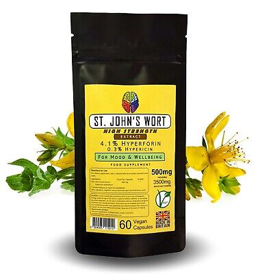 St John's Wort Extract Capsules - 5000mg Equiv - 3% Hyperforin + FREE GIFT