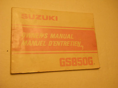 Gs850 G  Suzuki  Owners Manual