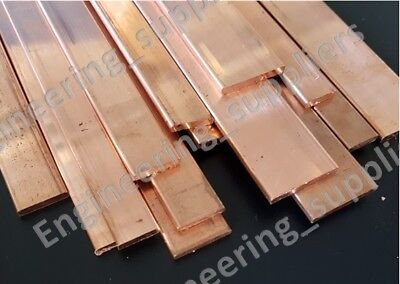 "Copper Flat Bar Stock C101, 1/2"", 5/8"", 3/4"", 1"" Wide 1/8"" Thick Various Lengths"