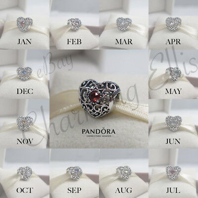Genuine Pandora BIRTHSTONE SIGNATURE HEART Born Silver Charm All 12 Month