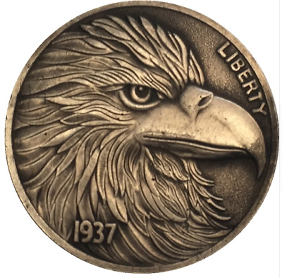 A eagle Style copper circle in antique style Jewel bison hobo nickel