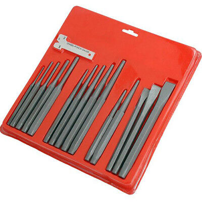 16 Piece Metal Punch And Chisel Set Parallel Drift Brake Centre Gauge Pin Tool