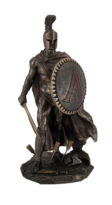 Resin Statues Spartan King Leonidas With Sword And Shield Bronzed Statue 3.5 X 1
