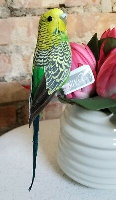 "Faux Parakeet Budgie Bird Fake Replica Looks Real Green 8"" NWT"