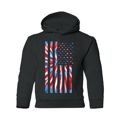 Patriotic Tie Dye American Flag YOUTH Hoodie 4th of July GO USA Forever