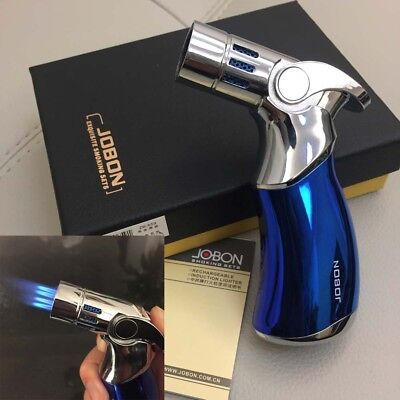 Jobon Four Torch Jet Adjustable Flame Refillable Cigarette Cigar Lighter Blue