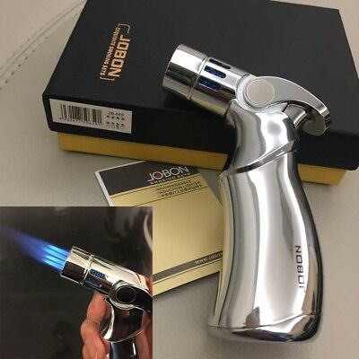 Jobon Four Torch Jet Adjustable Flame Refillable Cigarette Cigar Lighter Silver