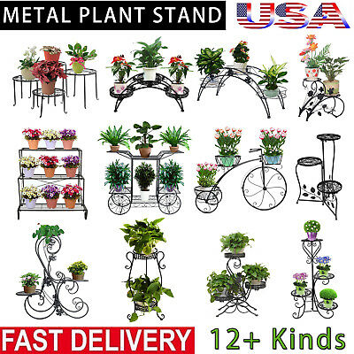 Metal Plant Stand Garden Decor Flower Pot Shelves Outdoor Indoor Wrought Iron US