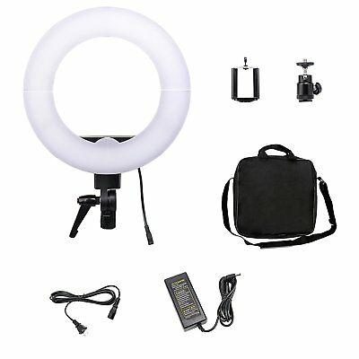 "Adjustable 12"" LED Dimmable Ring Light 35W 5500K with Cell Phone Holder"