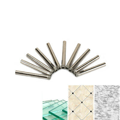 10Pc 6mm Diamond Coated Drill Bit Kit Hole Cutter Saw Glass Tile Ceramic Marble