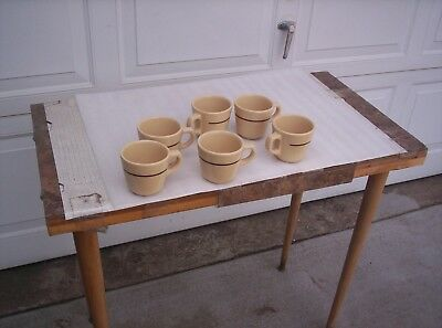 6 Ea Nos Buffalo China Restaurant Coffee Cups W/brown Stripe Vintage