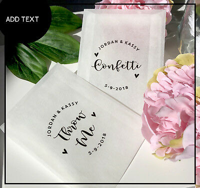 Glassine Confetti  Throw me, sprinkle with love Personalised wedding Bags x 10