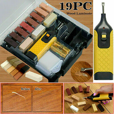 19pc Laminate Floor Worktop Furniture Repair Kit Wax System for Chips Scratches