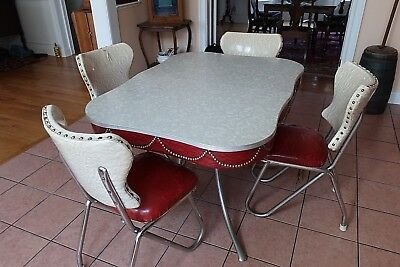 formica chrome vinyl kitchen table retro 1950s table table with four chairs EX+