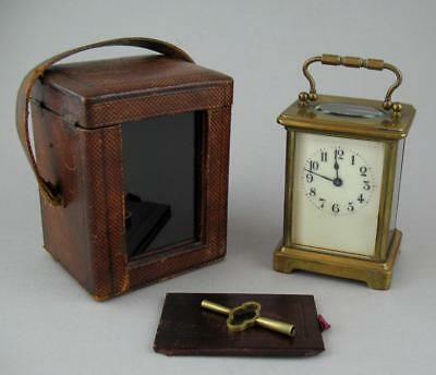Antique 19th C. Brass 8 Day Carriage Clock Original Leather Travel Case & Key