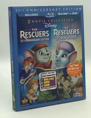 Rescuers, The / Rescuers Down Under (Blu-ray+DVD, 2012) NEW w/ RARE Slipcover