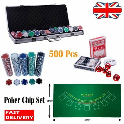 500pcs Poker Set Hold Chips Casino Aluminum Case Game 5 Dice Game Mat Tool 11.5g