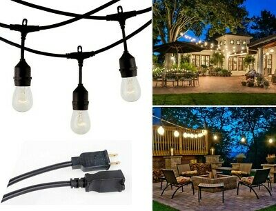 48 FT Waterproof String Lights Outdoor Patio Commercial Grade Globe Bulbs Yard
