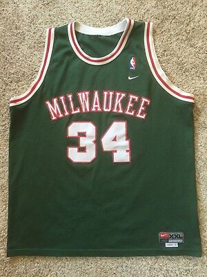 the best attitude b1ed3 1f874 RAY ALLEN VTG Milwaukee Bucks Jersey Sewn #34 Rewind Authentic Nike Size XXL