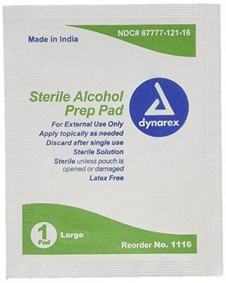 Dynarex Sterile Alcohol Prep Pads, Large, 100 Ct (9 Pack)