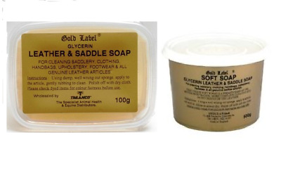 GOLD LABEL SADDLE SOAP 100 & 500G Glycerin Cleaning Leather Horse Care Grooming