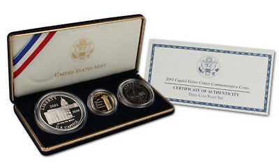 2001 Us Capitol Visitor Center Commemorative Gold & Silver Set Gem Frosted Proof