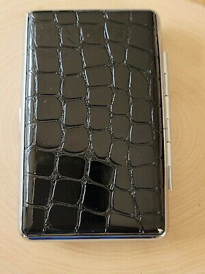 Metal Pebble Shiny Brown Leather Double Sided King & 100's Cigarette Case New