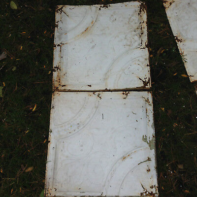 "Antique Shabby 10 tiles 24"" Chic Tin Ceiling Tile Panel Vtg White Metal 2' x 2'"