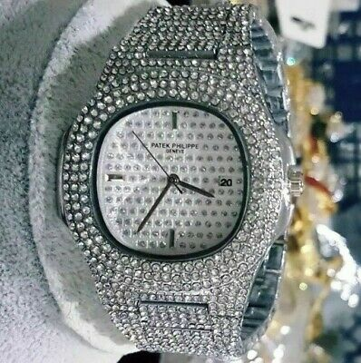 Iced Out Whıte  Gold Plated  Hip Hop Bling Diamound Watch