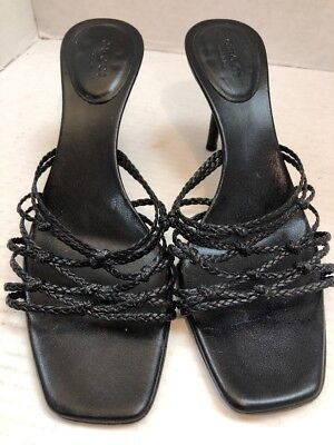 17626ef634d GUCCI Black Leather Woven with Knot Heel Slide Sandals size 8