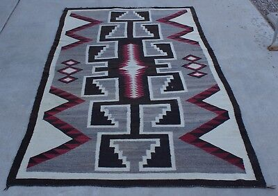 """1930's Navajo Crystal Rug Red, Brown & Gray Serrated & Stepped Design 90"""" x 52"""""""