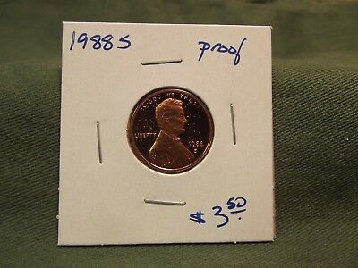 1988S Proof Lincoln cent from US Proof Set, Please read item description, 1988 S