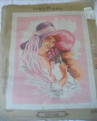 Vintage Etoile Paris Large Printed Tapestry Canvas Romanticism Woman In Hat
