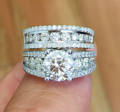 Huge 14K Solid White Gold Round Cut Simulated Diamond Engagement Ring Band 4.00