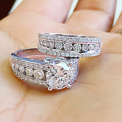 43bf930b132 Huge 14K Solid White Gold Round Cut Simulated Diamond Engagement Ring Band  5.00