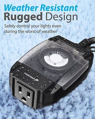 Outdoor Timer Outlet 24-Hour Mechanical Light Timer Waterproof Multi-Purpose NEW