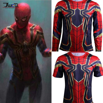 Mens Compression GYM T-Shirt Cosplay Iron Spider-Man 2018 Avengers Infinity War