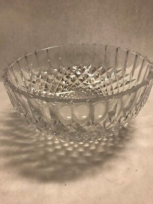 Thumbprint scalloped 8 in cut Crystal Bowl Centerpiece Vintage Glass Serving