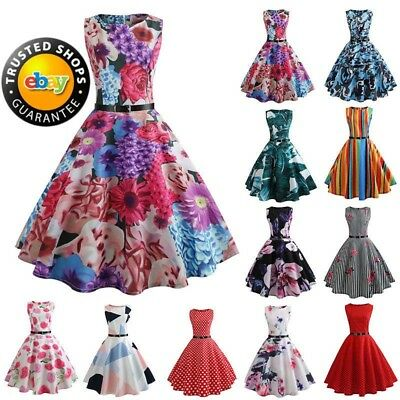 Vintage 50s 60s Dress Retro Style Rockabilly Pinup Housewife Party Swing Skirt