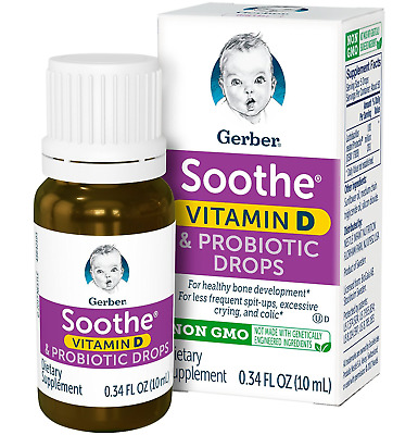 Gerber Soothe Vitamin D & Probiotic Drops - Sealed Bottle .34 Fl Oz