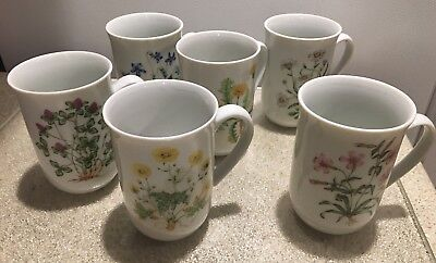 Vintage Set/6 wildflowers coffee tea cups violet daisey clover dandelion Pinks