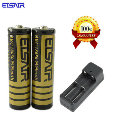 2PCS ETSAIR  Flat Top 3.7V 3000Mah 18650 Li-Ion Battery Rechargeable  Charger