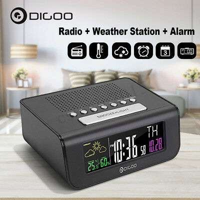 Digoo Digital Wireless LED FM Radio Dual Alarm Clock Weather Forecast Station