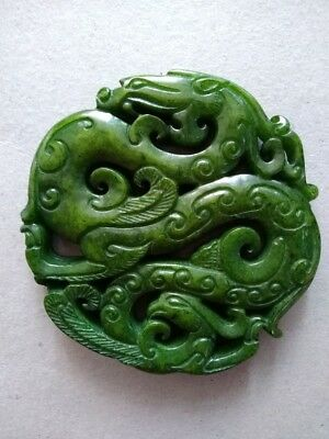 jade old chinese  handworked green dragon pendant