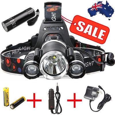 Super 50000Lm Cree 3T6 Xml Led Headlamp Headlight Torch Flashlight Rechargeable