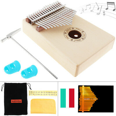 8pcs Accessories Solid Spruce Wood Thumb Piano with 17 Key Kalimba Mini Keyboard