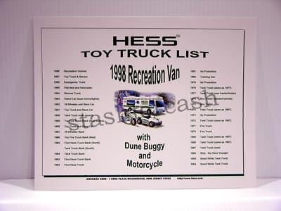 1964 to 1998 Hess Truck List Certificate - Neat Collectible