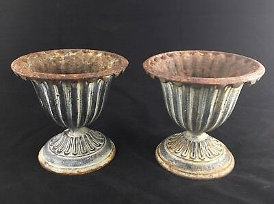 "Pair Vintage Cast Iron Fluted Urns Small 6"" Perfect Patina"